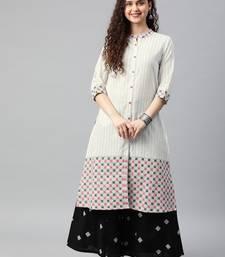 White woven cotton ethnic-kurtis