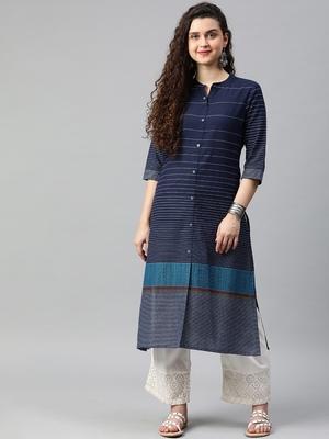 Navy-blue woven cotton ethnic-kurtis