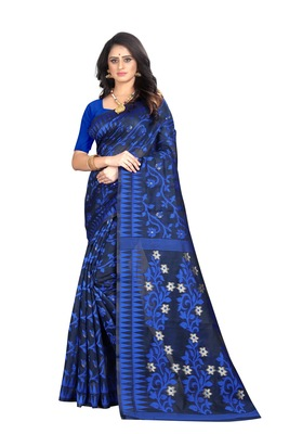 Blue woven banarasi cotton saree with blouse