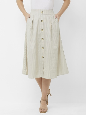 Beige Stripes Skirt