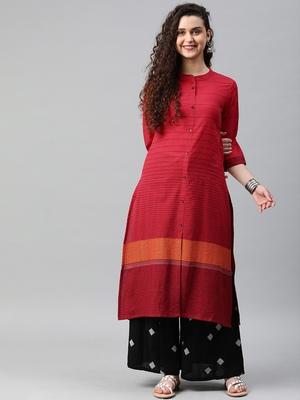 Red woven cotton ethnic-kurtis