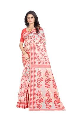 Light red woven banarasi cotton saree with blouse