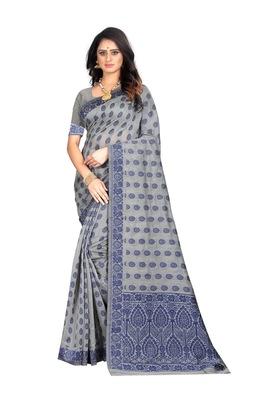 Blue woven banarasi cotton saree with blouse