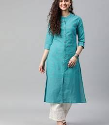 Turquoise woven cotton ethnic-kurtis
