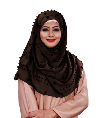 Brown Color Casual Wear Pom Pom Viscose Cotton Arabian Scarf Hijab For Women