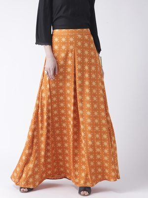 Orange Printed Long Skirt