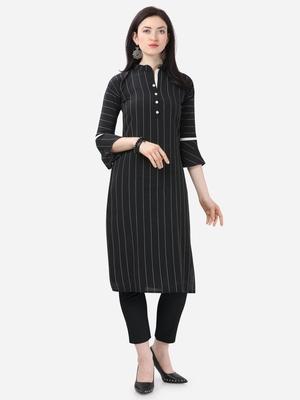 black Cotton  Stitched straight kurta
