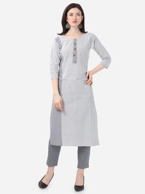 white Cotton  Stitched straight kurta
