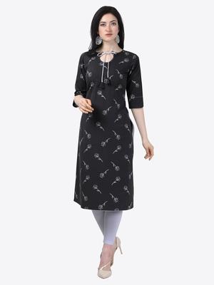 black Rayon Stitched straight kurta