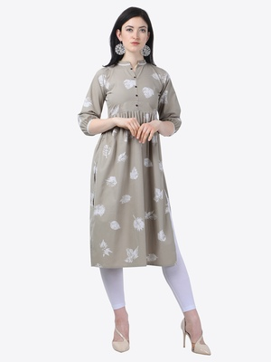grey Rayon Stitched straight kurta