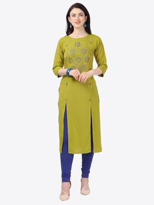 green Rayon Stitched straight kurta