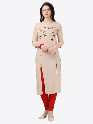 beige Rayon Stitched straight kurta