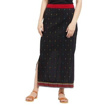 Black Printed Ankle Length Skirt