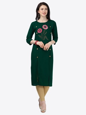 green Rayon Stitched straight kurta