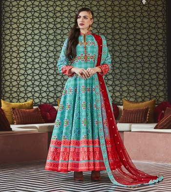Designer Partywear Sky Blue Heavy Pure Killer Silk Salwar Suit