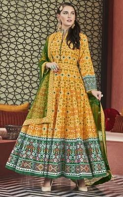Designer Partywear Golden Yellow Heavy Pure Killer Silk Salwar Suit