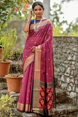 Magneta cotton woven saree