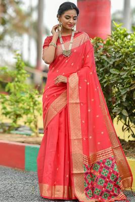 Dark pink cotton woven saree