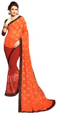 Orange Woven Georgette Saree With Blouse