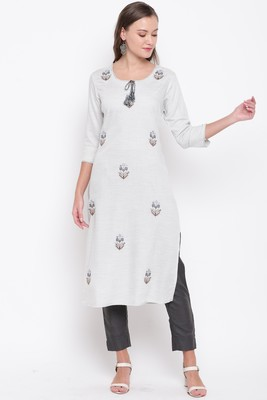 Women's embroidered/solid Straight Rayon Light Grey And Grey Kurti With Pant Set