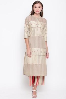 Women's mirror work Straight Cotton Beige Kurti With Palazzo Set