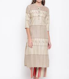 Women's mirror work Straight Cotton Beige Kurti With Palazzo Set