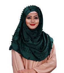 Cyan Color Pom Pom Viscose Cotton Arabian Scarf Hijab For Women