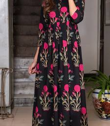Designer Partywear Printed Black Pure Maslin Gown