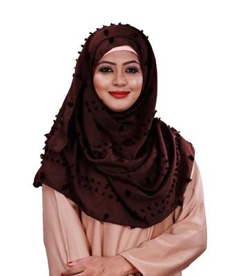 Maroon Color Festive Wear Viscose Cotton Arabian Scarf Hijab For Women