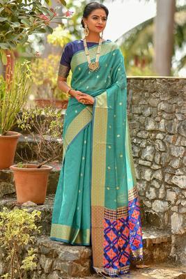 Torquise cotton woven saree