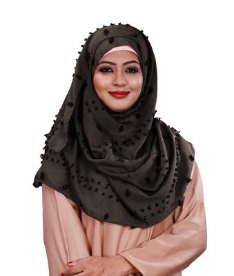 Metallic Grey Color Viscose Cotton Pom Pom Hijab Scarf