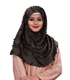 Metallic Grey Color Viscose Cotton Pom Pom Hijab Scarf