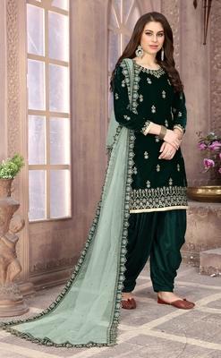Dark-green embroidered velvet salwar