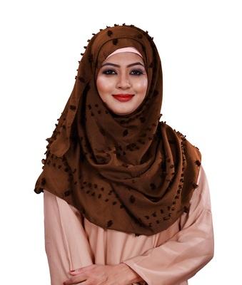 Mustard Color Pom Pom Viscose Cotton Arabian Scarf Hijab