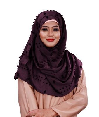 Purple Color Viscose Cotton Pom Pom Design Scarf Hijab
