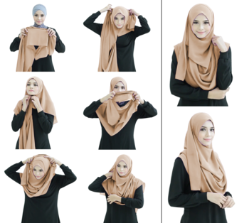 Ivory Color Stitched 2 Loop Instant Hijab Scarf For Women