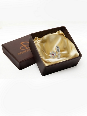 Flower Silver Plated AD Ring