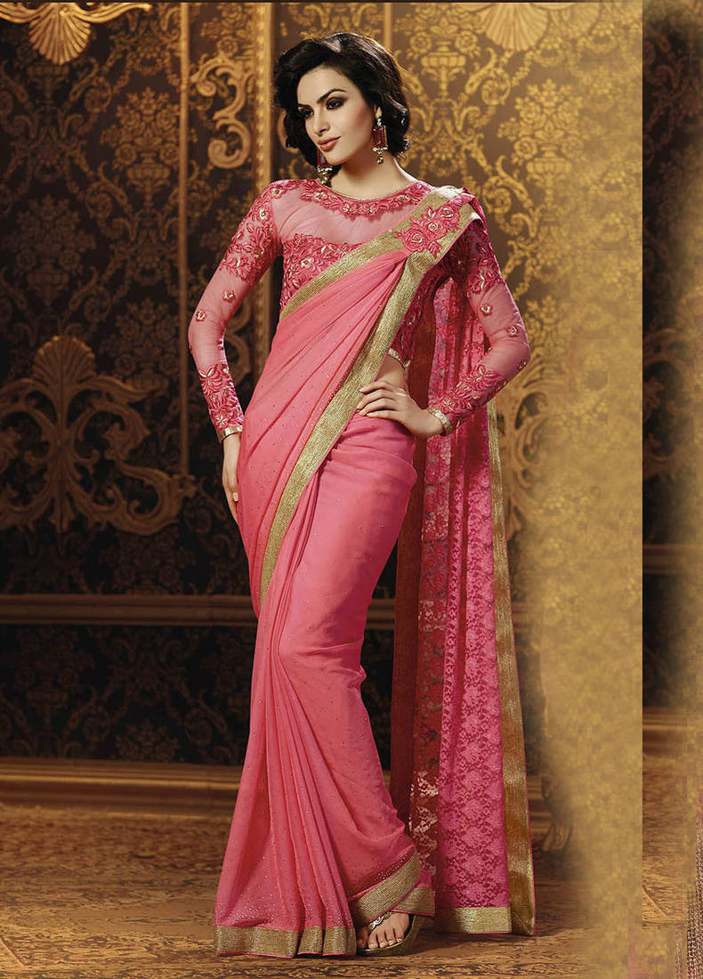 Buy Pink Embroidered Chiffon Saree With Blouse Online