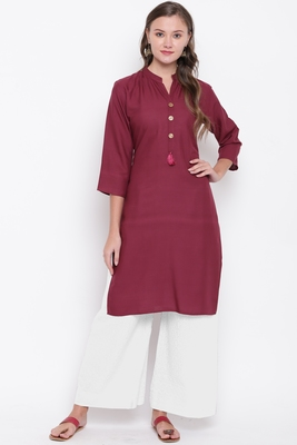 women's solid straight rayon wine color kurti with palazzo set