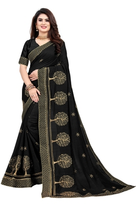 Black embroidered pure art silk sarees saree with blouse