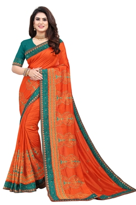 Orange embroidered pure art silk sarees saree with blouse