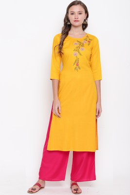 women's embroidered/solid straight rayon yellow kurti