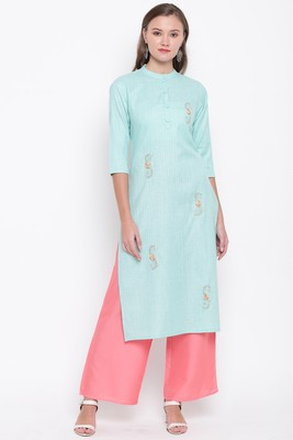 women's embroidered/solid straight cotton sky blue kurti with palazzo set