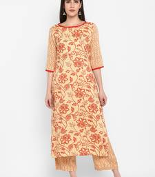 cream floral print round neck knee long Rayon Straight Kurta & Kurti for Women