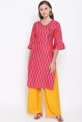 women's Printed straight cotton red kurti with palazzo set