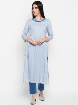 Blue Embroidered Round neck Ankle long Solid Rayon Anarkali Kurta & Kurti for Women
