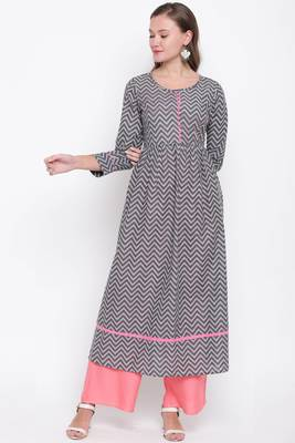 women's printed anarkali cotton grey kurti with palazzo set