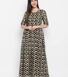 Black Printed Round neck Ankle long Cotton Anarkali Kurta & Kurti for Women
