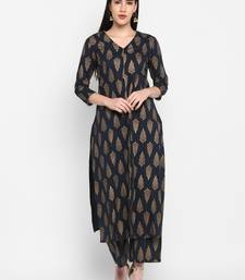Black Gold printed V-neck Knee long Cotton Straight Kurta & Kurti for Women