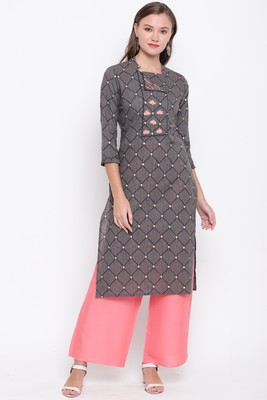 women's embroidered straight cotton grey kurti with palazzo set